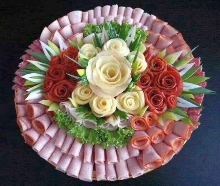 участки розы из колбасы пошаговое фото пионерских