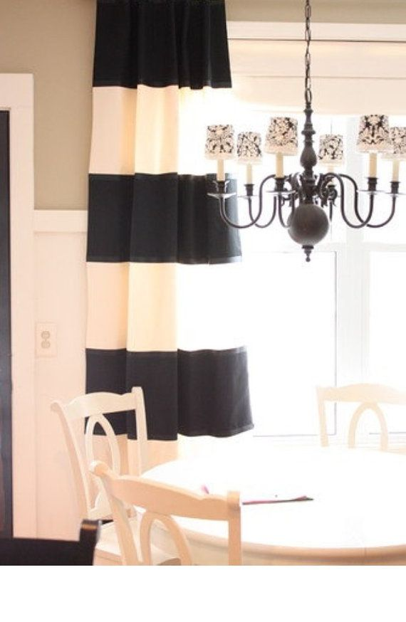 ALL OF THE HORIZONTAL CURTAINS ARE MADE WITH TRADITIONAL LINING THAT IS INCLUDED IN THE PRICE!!!    Beautiful 12 wide black and creamy white