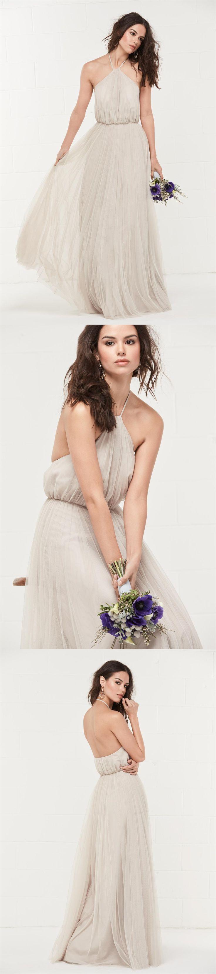 Long Bridesmaid Dress, Halter Bridesmaid Dress, Tulle Bridesmaid Dress, Dress for Wedding, Floor-Length Bridesmaid Dress, Backless Bridesmaid Dress, A-Line Bridesmaid Dress
