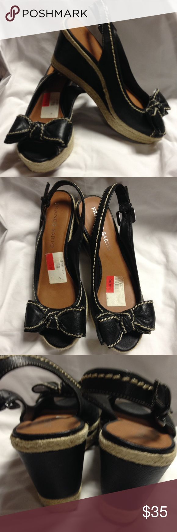 Franco Sarto wedge shoes 7 1/2 New with tags. Black wedge shoes. Adorable Franco Sarto Shoes Wedges