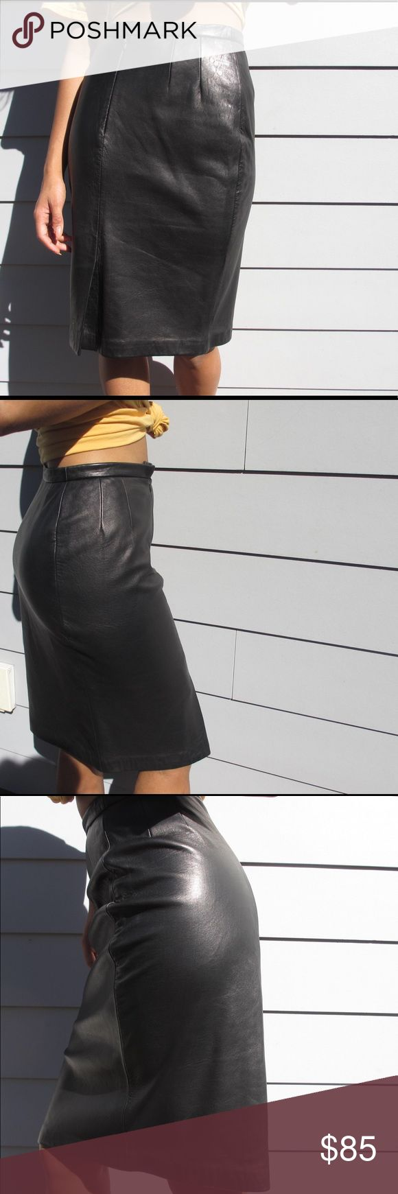 Ralph Lauren Black Leather Midi Pencil Skirt Ralph Lauren classic vintage black leather skirt. This knee high pencil skirt is perfect for looking fashionable to at any work event or social! 100% Leather, and is made in the US. There is a small defect on the zipper of the skirt; the clasp over he zipper has broke so it will not fully close (pictures of this provided above) although it can easily be fixed at any tailor or diy.                 Make an offer!! Ralph Lauren Skirts Midi