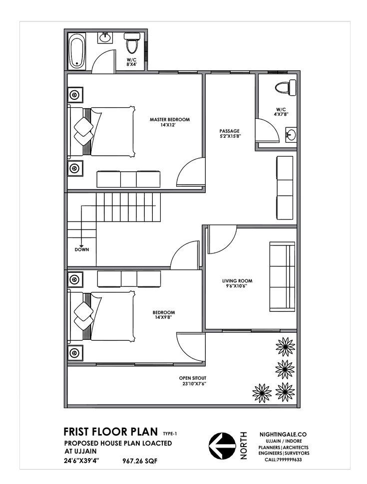 House Plan 25x40 Feet Indian Plan First Floor Plan For