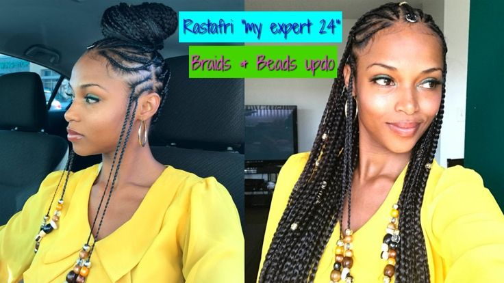 "Braids & Beads Updo with ""My Expert 24"" RASTAFRI Kanekalon hair [Video] - https://blackhairinformation.com/video-gallery/braids-beads-updo-expert-24-rastafri-kanekalon-hair-video/"