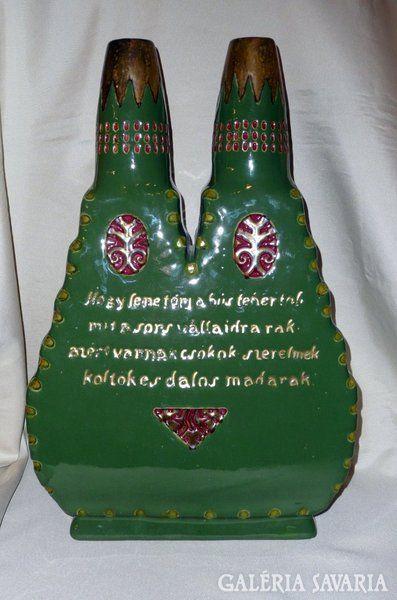 Zsolnay 1911. Torinói világkiállításra készült kétlyukú váza