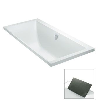 Evok 1675mm Drop-In Bath  Features:    Drop-in acrylic bath (fully reinforced)  Also available as a 1800mm drop-in bath  Tapware can be mounted on the bath rim  Optional accessory: Evok charcoal bath pillow