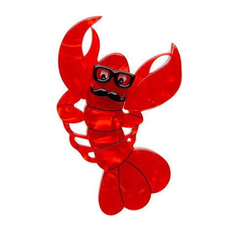 "Erstwilder Limited Edition Roland The Lobster Rock Brooch. ""Pass the tanning butter but don't get any ideas. I don't want any trouble, I'm just after a healthy glow."""