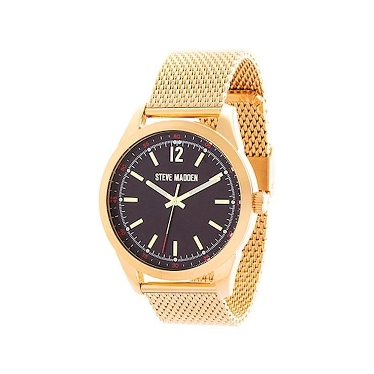 Steve Madden Men's Goldtone Black Dial Mesh Bracelet Watch