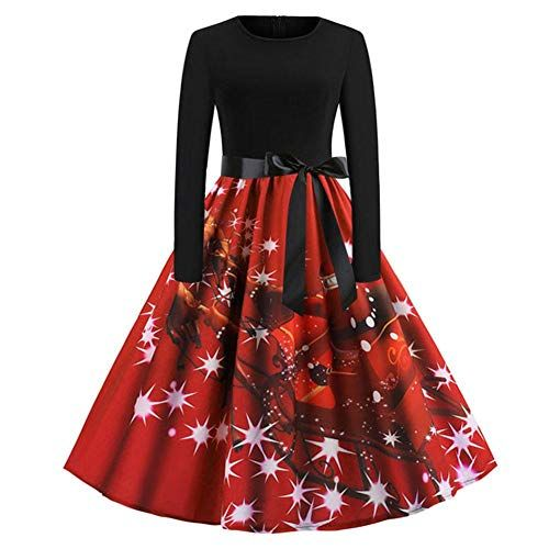 Weihnachtskleid-Damen-Langarm-Kleid -mit-Schneemann-Weihnachtsmann-Rockabilly- 2a8a3cf660