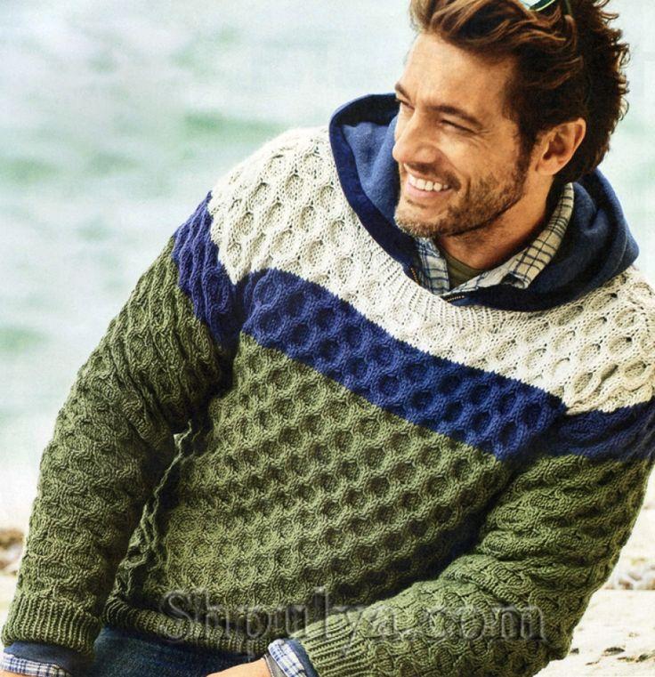 Мужской пуловер с вафельным узором, вязаный спицами