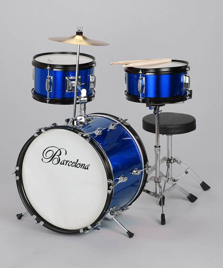 I've got to find a way to make a drum set usable for Liam  Blue Junior Drum Set