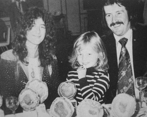 Jimmy Page, his daughter Scarlet, and John Bonham