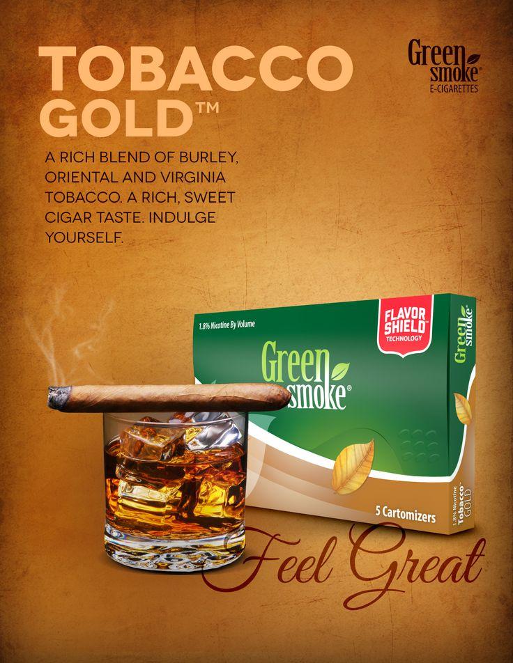 Tobacco Gold: Virginia-, Oriental- ja Burley-tupakan rikas sekoitus. Tällainen runsas ja makea maku löytyy yleensä vain parhaimmista sikareista – ja nyt Green Smoke® sähkötupakassa. Hemmottele itseäsi!