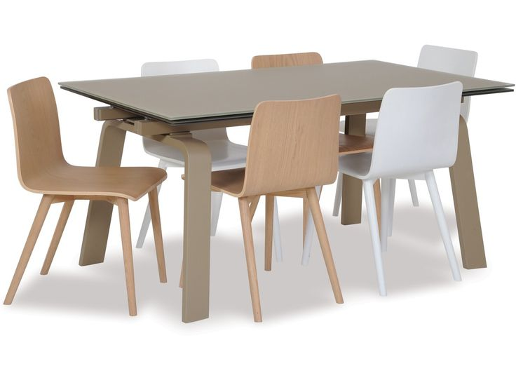 Bring modern style to your dining room with the Riga extension dining table. The matt coloured glass top, steel legs and underframe is a stylish finish and will make an eye catching addition to your dining area. Functionality and simple, clean lines is what has defined Danish design over the decades. These elements are represented in spades in the ultra-modern Tami dining chair, available in a choice of two colours. - See more at…