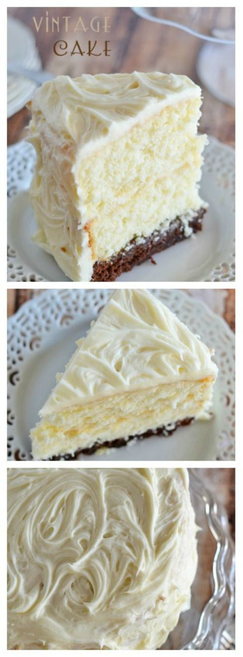 This Vintage Cake combines two layers of white cake, with a surprise brownie layer soaked in a decadent chocolate sauce. And the cream cheese frosting takes it right over the top:)