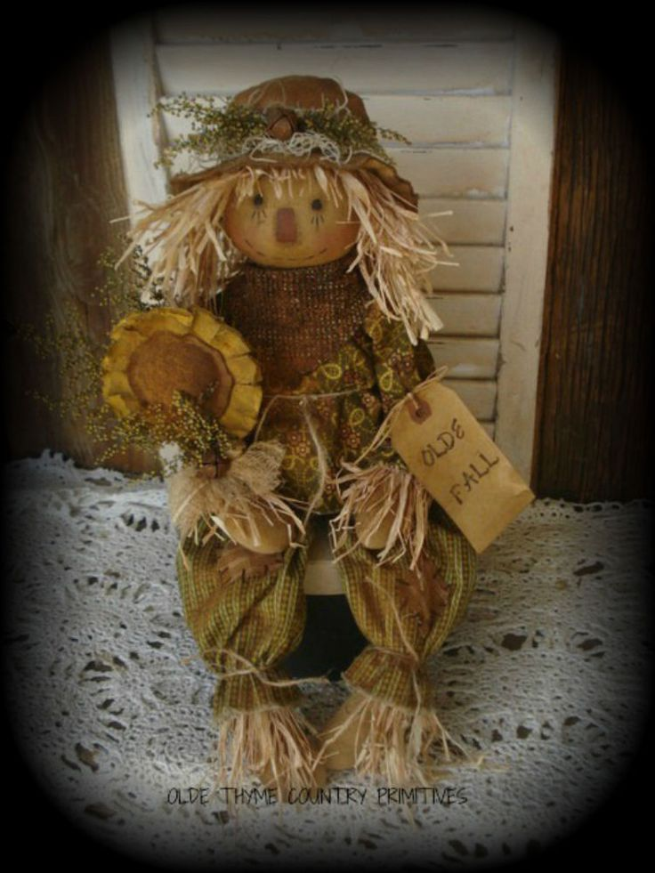 Primitive Olde Scarecrow Doll With His Sunflower #NaivePrimitive