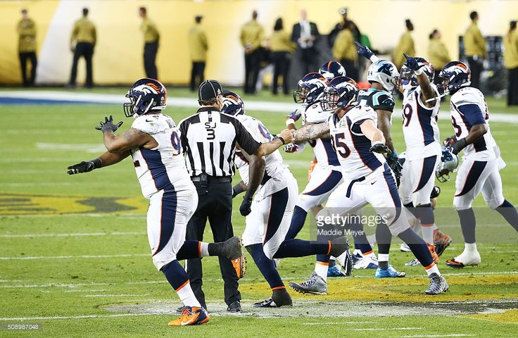 The Denver Broncos react after a missed field goal by Brad Nortman #8 of the Carolina Panthers in the third quarter during Super Bowl 50 at Levi's Stadium on February 7, 2016 in Santa Clara, California.
