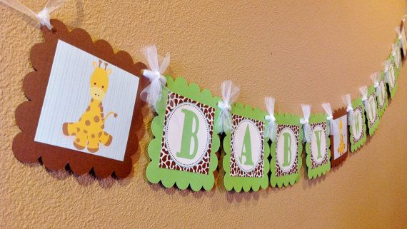 Baby Name Banner - Lime Green, Brown, and Baby Blue Giraffe Print - Baby Giraffe Theme - Party Packs Available