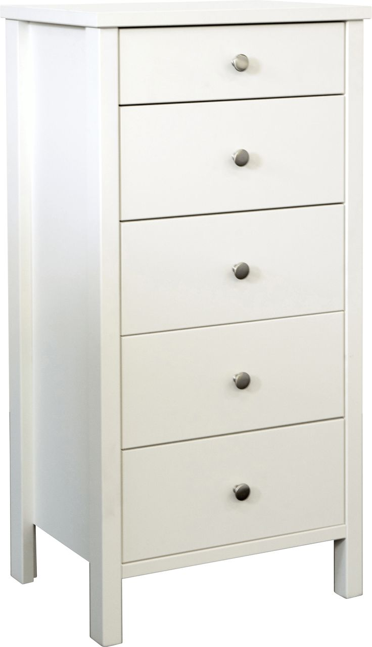 Steens Stockholm Shaker Style 5 Drawer Tall Narrow Chest Of Drawers In White - The Stockholm range combines solid lines and a crisp white finish. Standing upon legs with a solid style this range exudes quality. Simple, round metal handles emphasise