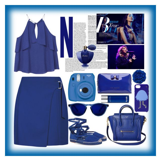"""""""#blue"""" by mileyharbee on Polyvore featuring MANGO, Fujifilm, Kate Spade, Ted Baker, La Prairie and Guerlain"""