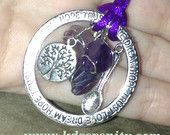 Spoonie Fibromyalgia Life pendant with Tibetan Word Ring, tree of life charm, spoon and amethyst nuggets-great gift for a Spoonie