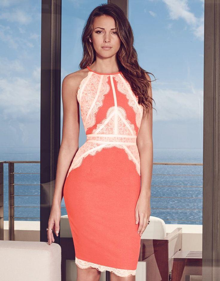 Michelle Keegan High Neck Lace Cami Dress