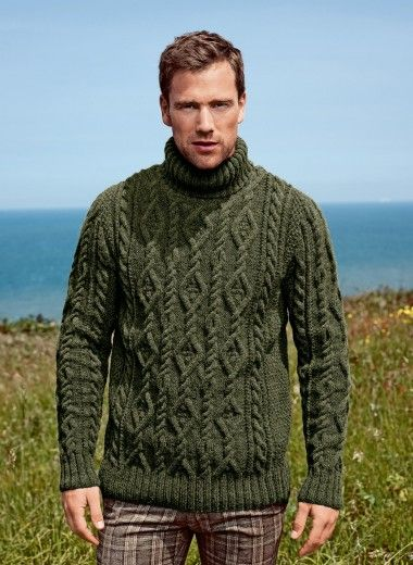 Mag. 177 # 10 Roll-cuello suéter Patrones // I'll make this sweater if he comes with the yarn....