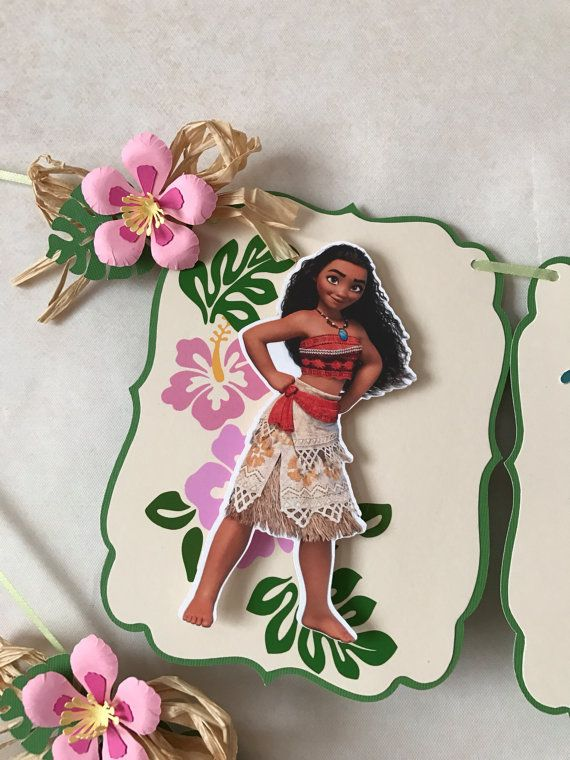 This is a unique and beautiful Moana Banner. Specially design to add to your decorations on Moana Theme Birthday Party. Perfect to add color to your wall.  Made with Paper, Foil Paper, and Rafia. Each flag is 5.5 tall x 4.25 wide. You can choose to add a name. Just choose what you prefer under Style section.  Custom orders are always welcome.   *** Copyright Notice ***  This listing is strictly for the time spent in creating this item. All copyrights and trademarks of the character images…