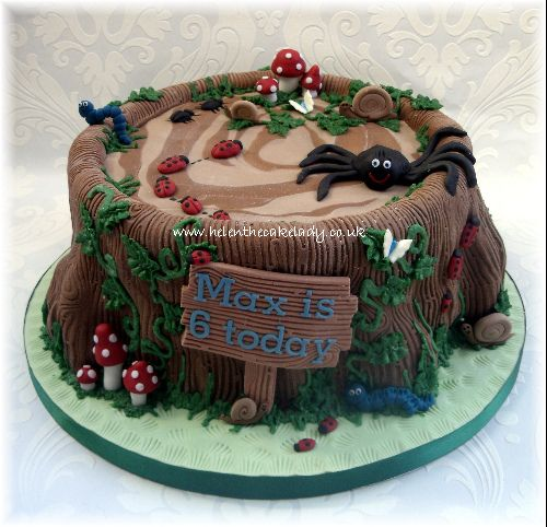 Tree Stump & Bugs Birthday Cake by Helen The Cake Lady, via Flickr