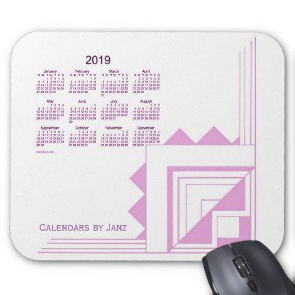 2019 Lavender Art Deco Calendar by Janz Mouse Pad - birthday diy gift present custom ideas