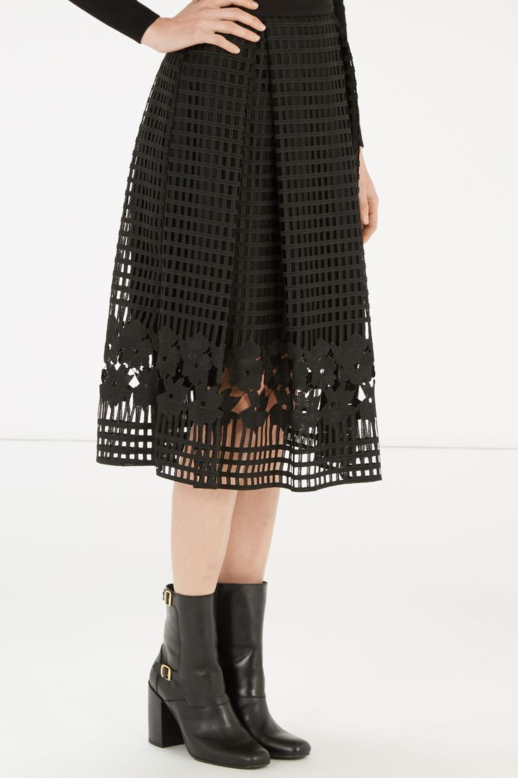 Skirts | Black GRID LACE SKIRT | Warehouse