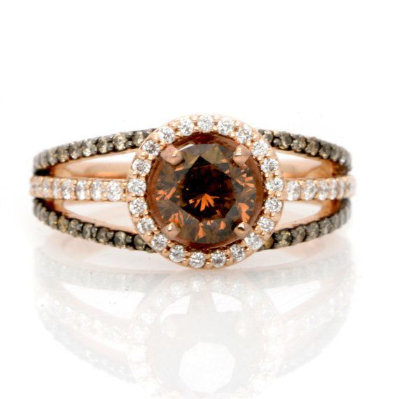1 Carat Chocolate Brown Diamond Floating Halo Engagement Ring , Rose Gold, Unique White & Brown Diamonds Accent Stones, Anniversary Ring
