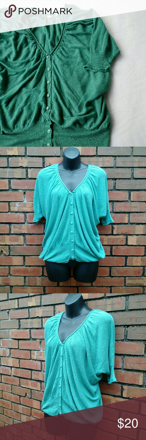 """Moth Linen Blend Slouchy Boho Sweater Top Cute slouchy short sleeve cardigan top by Moth. Beautiful aqua green color. No major flaws. Chest measures approximately 20"""", but it's hard to tell due to the shape of the shirt.   Offers are always welcome!  E&T Anthropologie Sweaters Cardigans"""