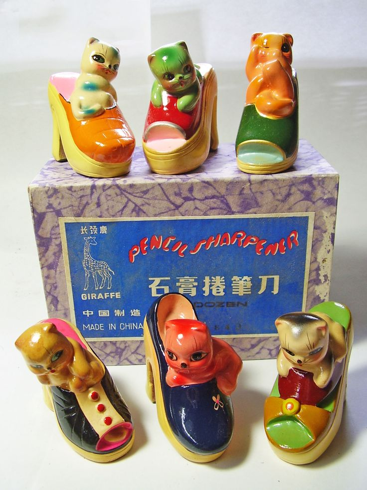 FOR SALE !  6 cats in platform shoes VINTAGE Chinese CHALKWARE clay CERAMIC figural PENCIL SHARPENERS ! http://www.ebay.com/sch/mypinkturtle/m.html?_ipg=50&_sop=12&_rdc=1