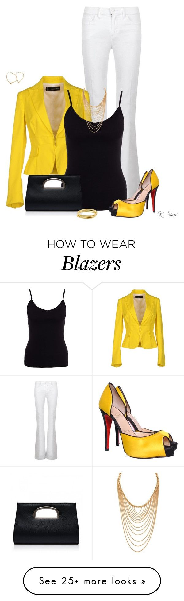 """Yellow Blazer"" by ksims-1 on Polyvore featuring Tory Burch, Dsquared2, New Look, Christian Louboutin, Forever New, Forever 21, Karen Kane and Tiffany & Co."
