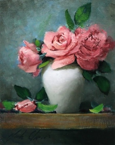 'Pink in White', painting by artist Justin Clements