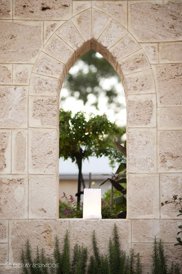 Beautiful limestone window archway. Wedding reception styling, ideas and inspiration.  Reception Venue: St Paul's, Beaconsfield  Photography by DeRay & Simcoe