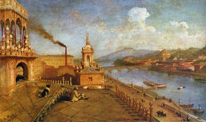 Carlo Bossoli, Il pittore sulla terrazza della sua casa a Torino, 1877