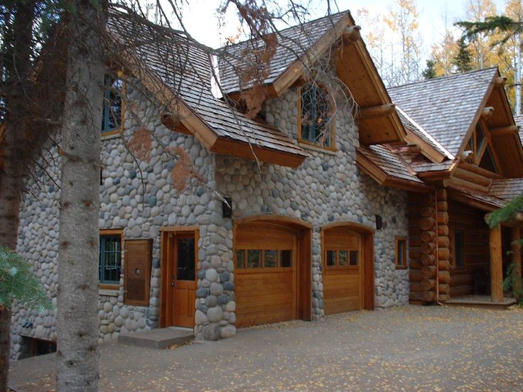 log home with stone garage dream home pinterest
