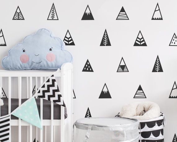 Mountain Wall Decals - Nursery Decals, Triangle Decals, Geometric Decals, Vinyl Wall Decals, Nursery Decor, Cute Tribal Wall Stickers