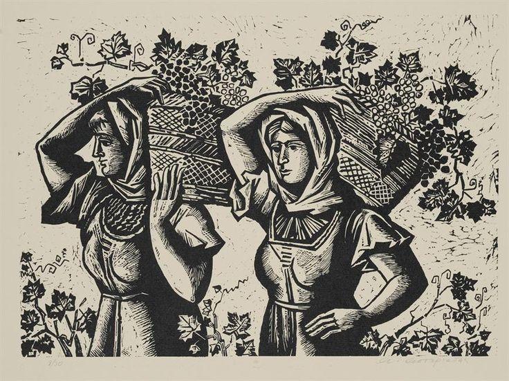 Women on grape harvest ,1966 linocut by Aginor Asteriadis  (1898 - 1977)