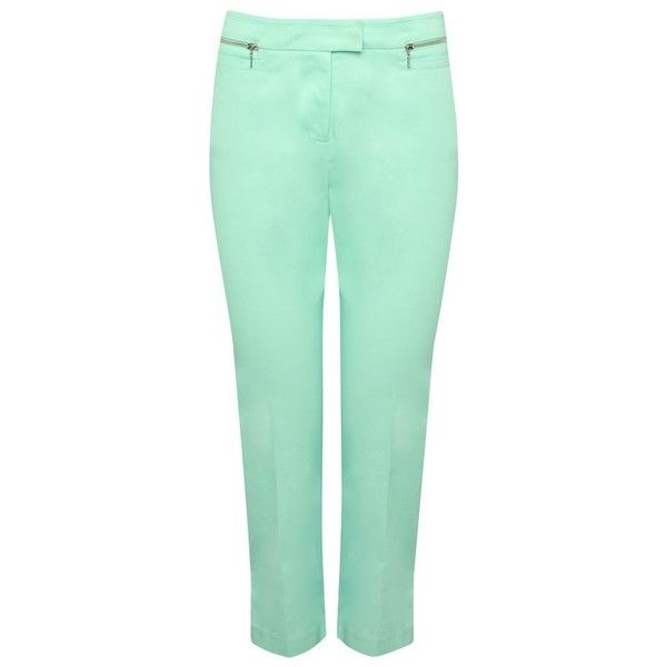 M&Co Cropped Sateen Trousers ($37) ❤ liked on Polyvore featuring pants, capris, mint, summer pants, mint green pants, cropped trousers, zipper pocket pants and flat front pants