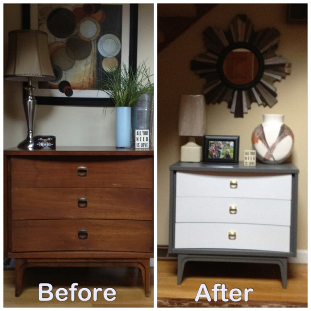 I Painted A Retro Piece Of Furniture To Add A Modern Look To My Entry.