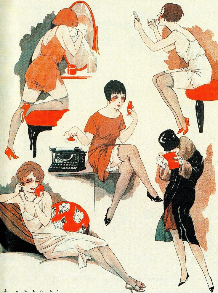 Ci-dessous, a gauche : illustration de Lorenzi Le Sourire October 8 1925. illustration by Sacha Zaliouk. from Maisons closes parisiennes by Paul Teyssier (2010)