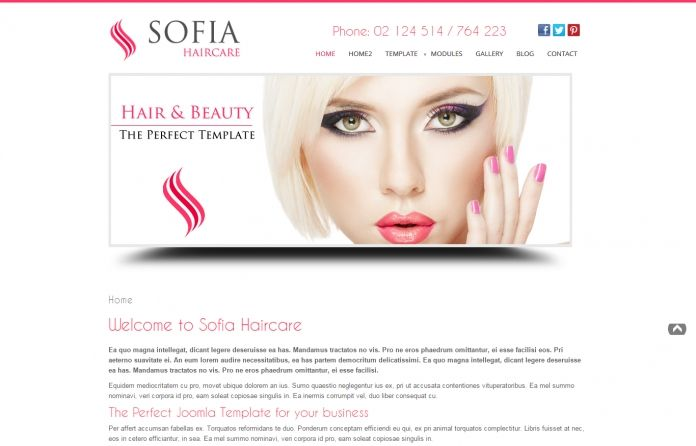Sofia Haircare - #Joomla #template for hairdresses, stylists, barbers or #beauty salons.Clean & elegant #design.