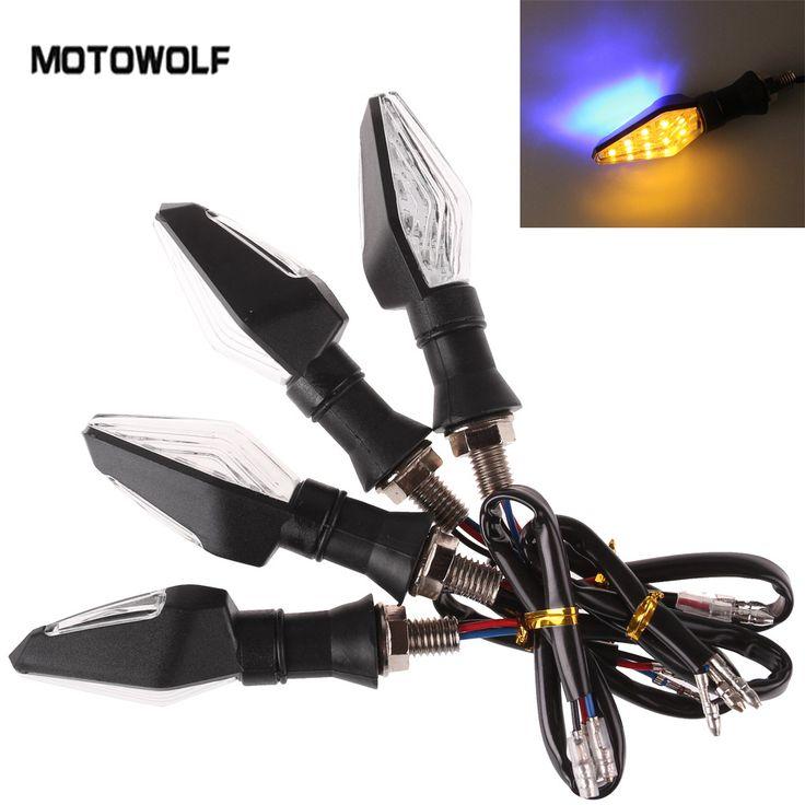 4 Pcs/1 lot Sepeda Motor LED Turn Signal Cahaya kualitas Tinggi 12 Led Lampu indikator Ganda Warna Biru & Amber Blinker Cahaya