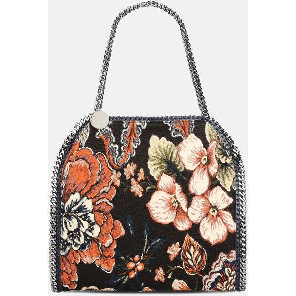 Stella Mccartney Tapestry Falabella Small Tote ($780) ❤ liked on Polyvore featuring bags, handbags, tote bags, multicoloured, tote handbags, multi coloured handbags, tapestry tote bag, stella mccartney tote and tapestry tote