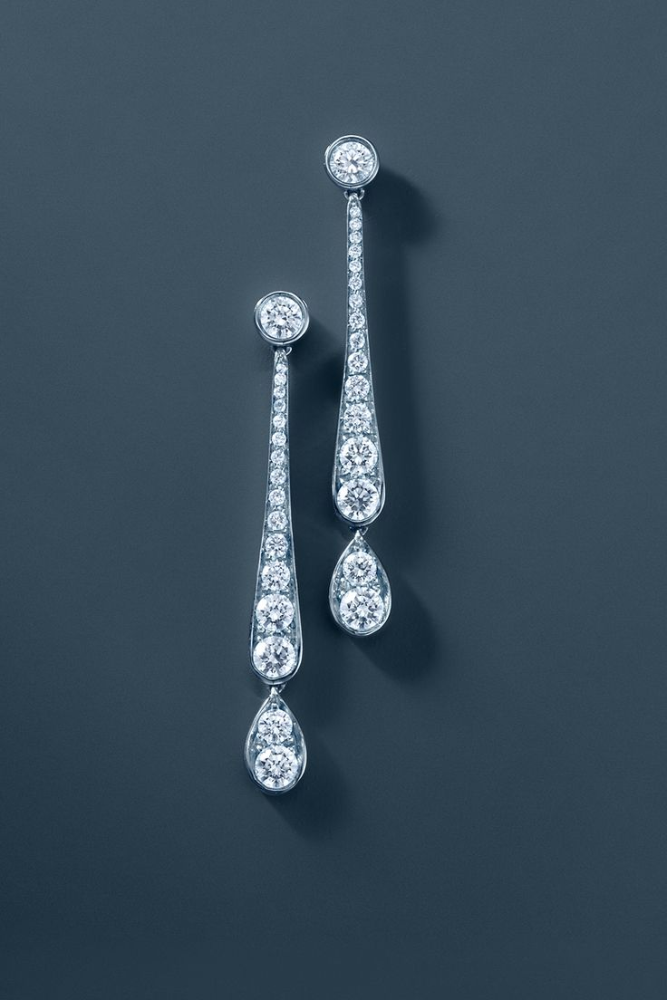 Tiffany Legacy Collection® diamond drop earrings in platinum. #TiffanyPinterest
