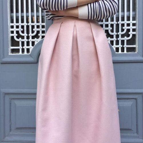 pink maxi upholstered skirt.