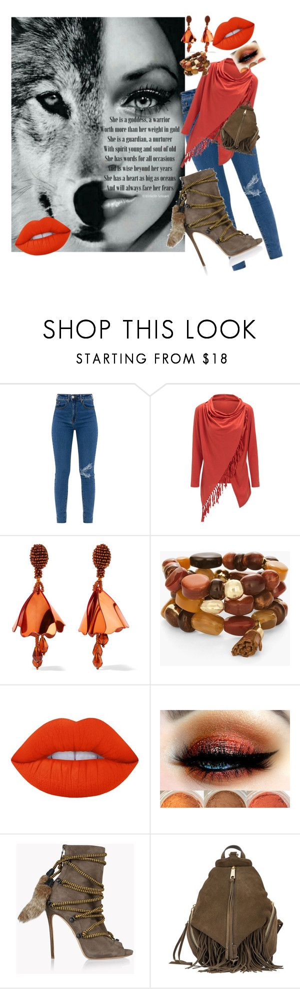 """""""Cherokee woman"""" by legendwings ❤ liked on Polyvore featuring WithChic, Oscar de la Renta, Chico's, Lime Crime, Dsquared2 and Rebecca Minkoff"""