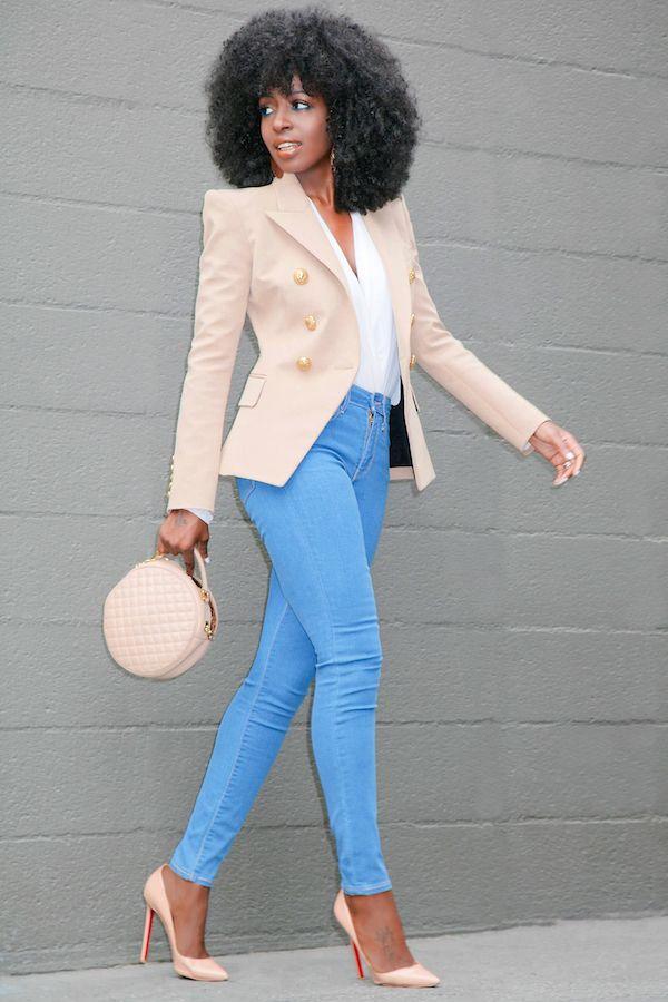 Style Pantry   DB Tan Blazer + Wrap Blouse + Vintage Levis Jeans